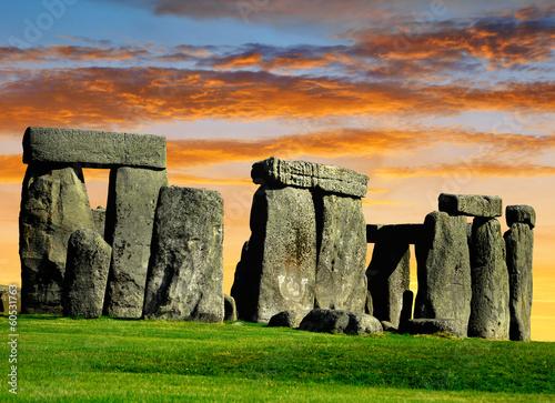 Fotografie, Obraz Historical monument Stonehenge in the sunset, England, UK