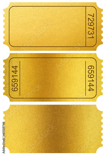 Gold tickets stubs isolated on white with clipping path included