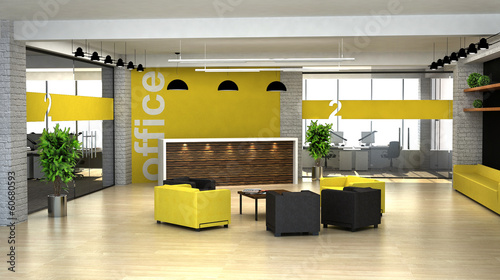 Photo 3d rendering an interior of the office. Hall with reception