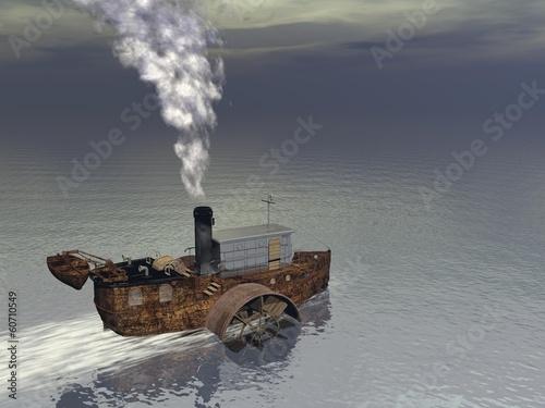 Photo Steamer boat - 3D render