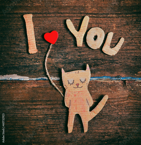 valentines day card with paper cat in love