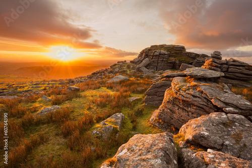 Fototapeta Sunset from King's tor Dartmoor Devon Uk