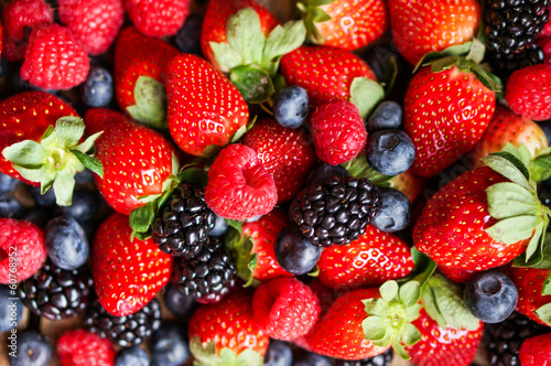 Closeup of fresh berries(raspberries,strawberries,blueberries,bl