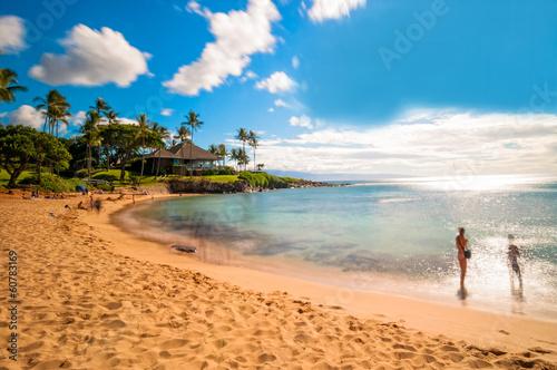 Fotografia Maui's famous Kaanapali beach resort area