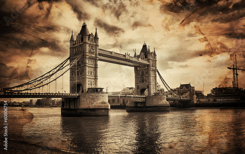 Vintage Retro Picture of Tower Bridge in London, UK #60806754