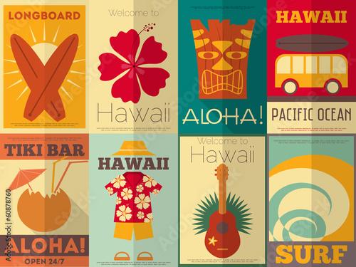 Kolekcja plakatów retro na Hawajach