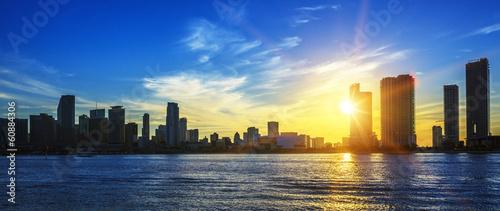 Miami city skyline panorama at dusk