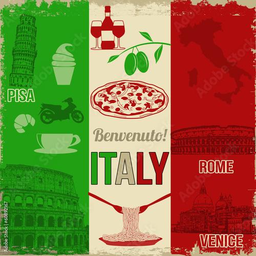 Italy travel poster Fototapeta