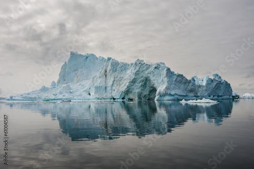 Reflection of icebergs in Disko bay, North Greenland