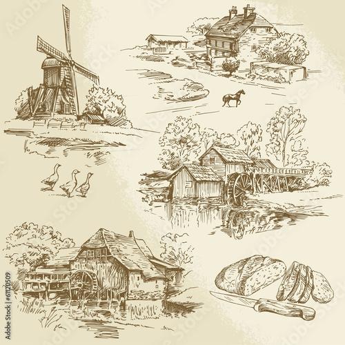 Obraz na płótnie Kolekcja wyciągnąć rękę - wiatrak i młyn wodny