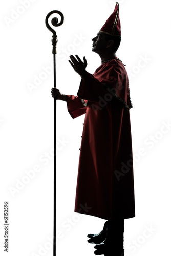Canvas Print man cardinal bishop silhouette saluting blessing