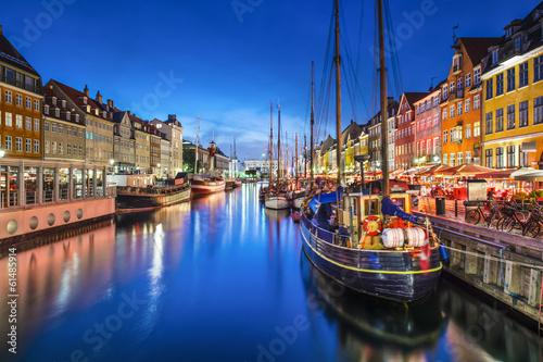 Canvas Print Copenhagen, Denmark at Nyhavn Canal