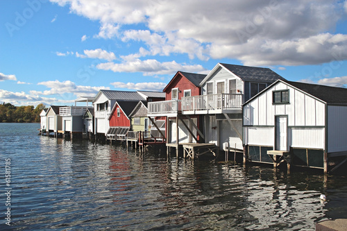 Canvas Print Boathouses on Canandaigua Lake, New York