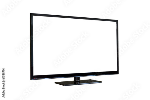Side shot of plasma tv screen isolated on white