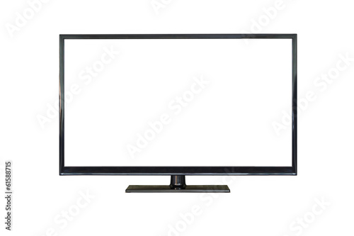 Front shot of plasma tv screen isolated on white