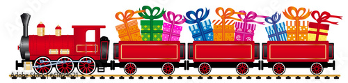 Photo red steam locomotive with gifts