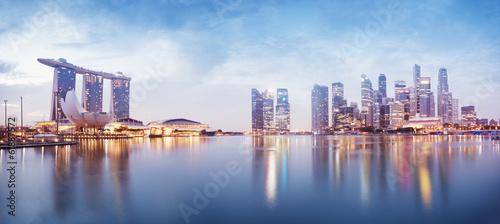 Panoramic image of Singapore`s skyline at night.