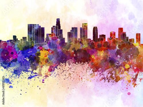 Obraz na plátně Los Angeles skyline in watercolor background