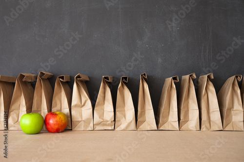 Canvas Print Brown Bag School Lunch