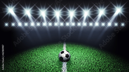 Soccer arena and ball with floodlights,Football field