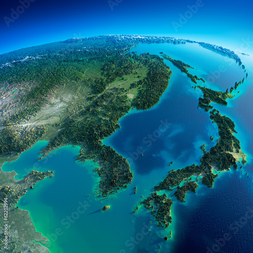 Fototapeta premium Szczegółowa Ziemia. Korea i Japonia