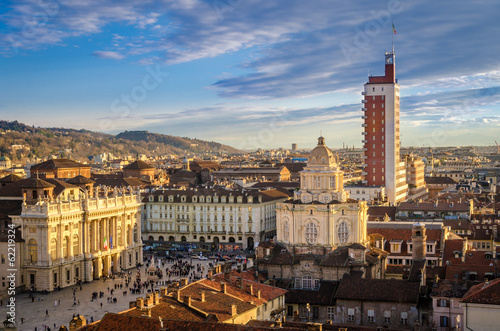 Fotografia Turin (Torino), panorama from the Cathedral bell tower