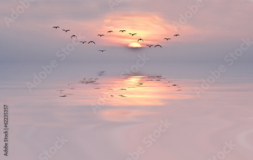 amanecer de colores suaves Fototapete