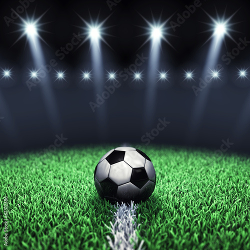 Soccer arena and ball with floodlights,Football pitch