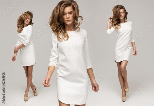 Fototapeta premium Trzy sexy kobieta w białej sukni