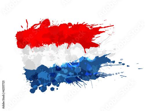 Wallpaper Mural Flag of Netherlands made of colorful splashes