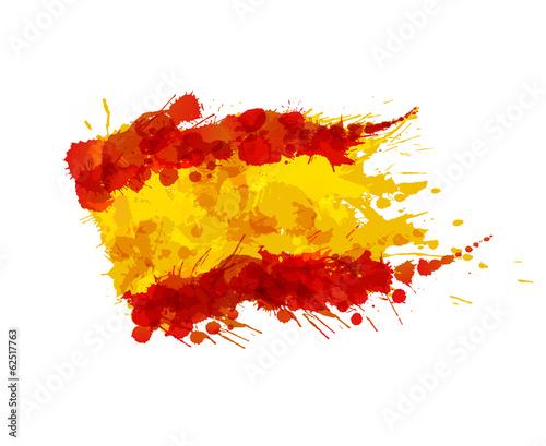 Photo Spanish flag made of colorful splashes