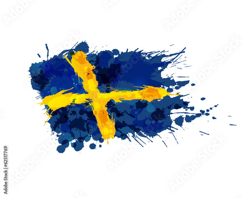 Photo Flag of Sweden made of colorful splashes