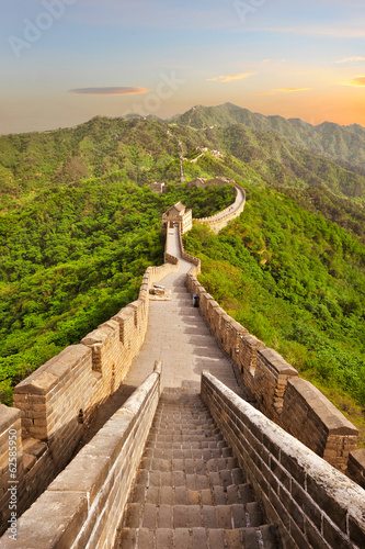 Fotografie, Tablou Great Wall of China during sunset
