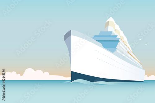 Fotografie, Obraz Retro style white cruise ship on the ocean