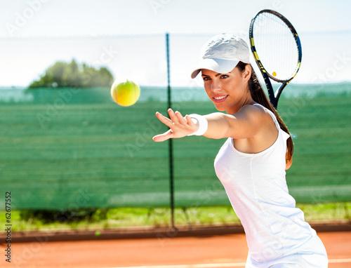 Canvas Print Female playing tennis