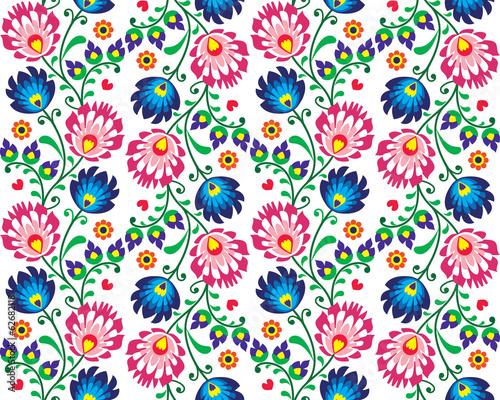 Seamless folk Polish pattern - wzor lowicki