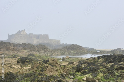 Canvas Print le fort national a st malo a maree basse.