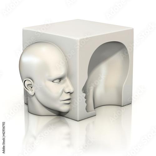 Wallpaper Mural alter ego, psychology, abstract human head 3d concept