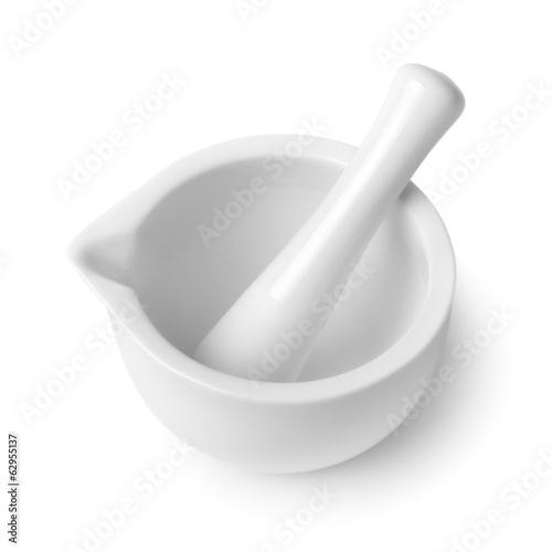 Obraz na płótnie mortar and pestle isolated on white background