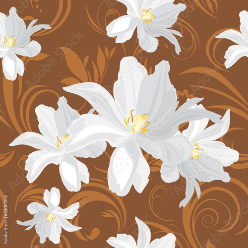Brown ornamental background with white flowers
