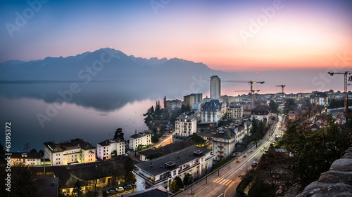 Canvas Print Sunset Above Montreux...
