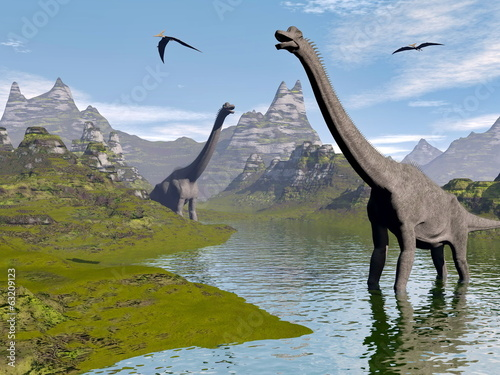 Brachiosaurus dinosaurs in water - 3D render #63209123