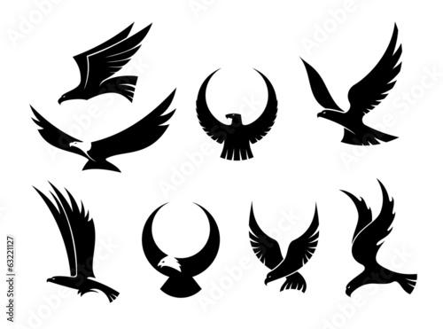 Set of flying eagles Fotobehang