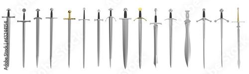 Photo realistic 3d render of swords