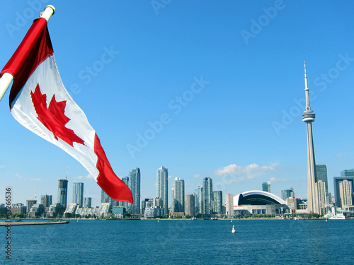 CN Tower in Toronto with Maple Flag