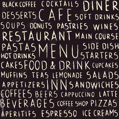 Handwritten restaurant related seamless pattern on blackboard