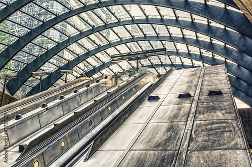 Escalator on Canary Warf Station, London #63737129