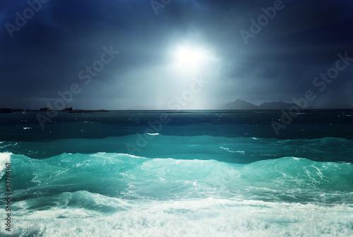 dark sky and sea of la Digue island, Seychelles