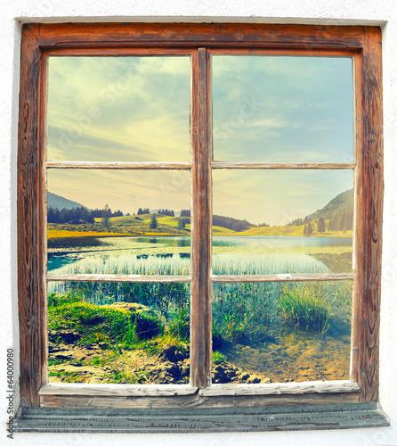Fototapeta Widok z okna na jezioro Seewaldsee XL