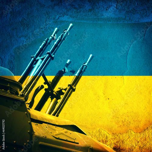 Weapon on Ukrainian Flag